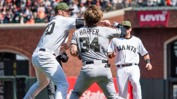 WATCH: Bryce Harper plunking sparks crazy baseball brawl between Nats and Giants - CBSSports.com