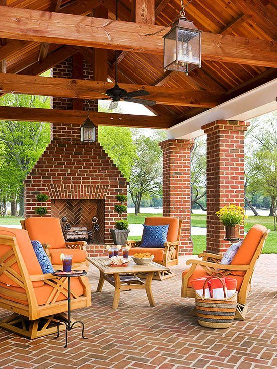 42 Inviting Fireplace Designs for Your Backyard Too much brick but love the ceiling
