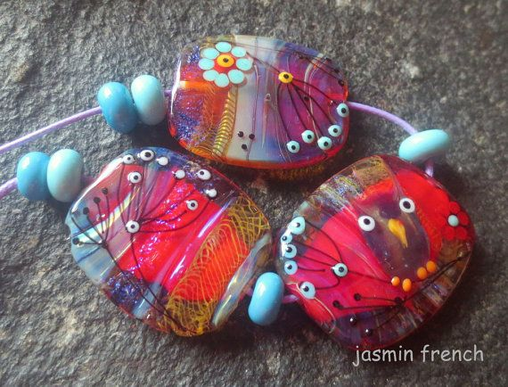 jasmin french ' into the shrub ' lampwork focal beads glass art set ooak