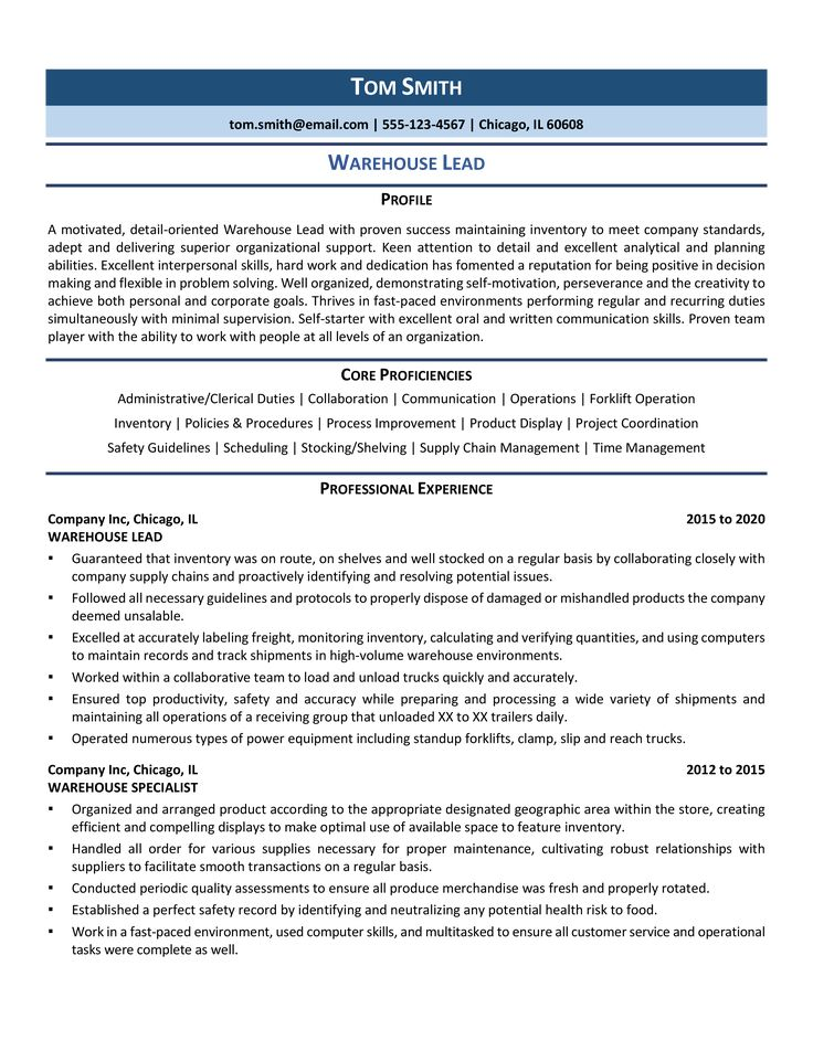 Warehouse Lead Resume Samples & Template for 2020 in 2020
