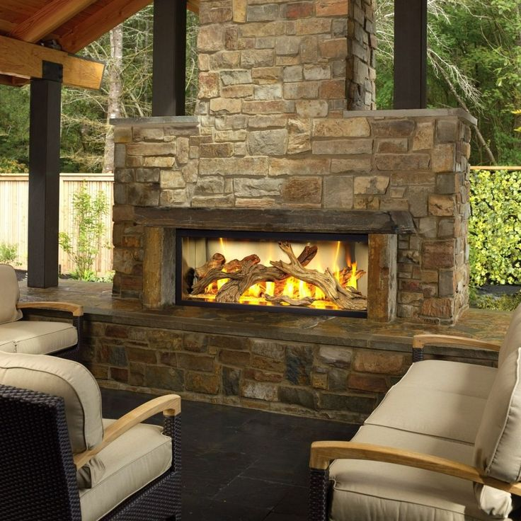 Luxury Outdoor Chat Area Massive Stone Faced Outdoor Gas