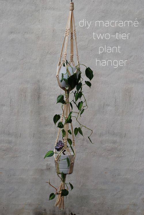 DIY macrame two-tier plant hanger on claramaejames.com! The perfect hostess gift.
