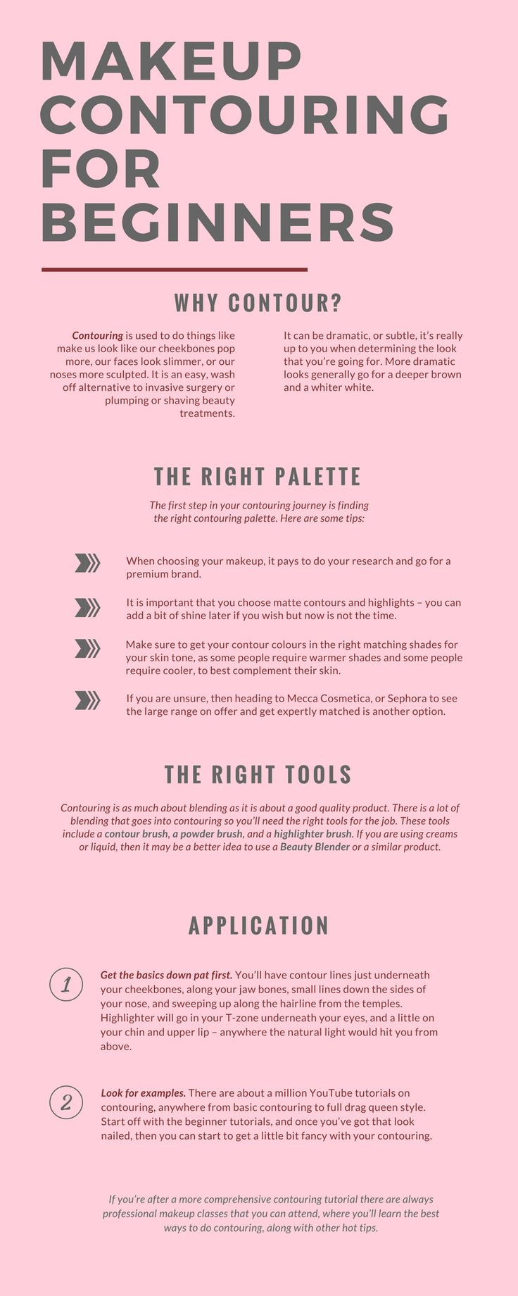 Contouring is a most popular makeup technique. It is a pivotal part of the daily makeup routine. However, if you are not familiar with these techniques, then you may join any good makeup school. You can also check out this Infographic where you can learn about what is the need of contouring, which palette to choose, and picking up the right tools.
