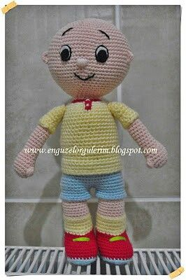 No Pattern. Crocheted Caillou Doll.