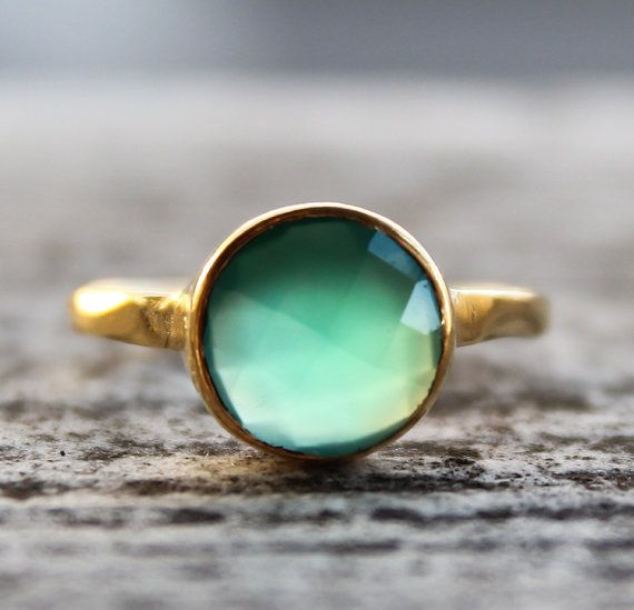 SALE Gold Green Onyx Gemstone Ring Stackable Ring May by OhKuol