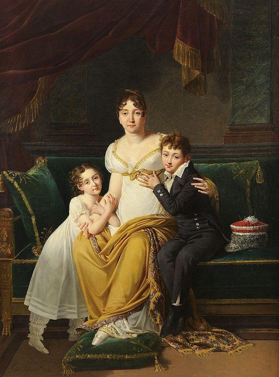 Robert LEFEVRE (1755-1830) Portrait de la Maréchale SOULT, Duchesse de Dalmatie avec ses deux enfants, Napoléon Hector et Joséphine Louise: