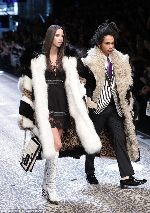 Fur goodness sake: Adriana Moira and Luka Sabbat walked for the Dolce and Gabbana collecti...