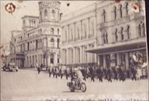 Ballarat Historical Society.  B/w photo of the procession for Mr. W.B. Trahar who built the Civic Hall.