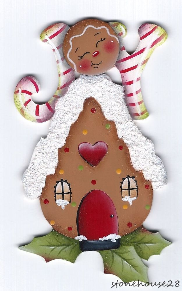 HP GINGERBREAD Joy FRIDGE MAGNET #Handpainted