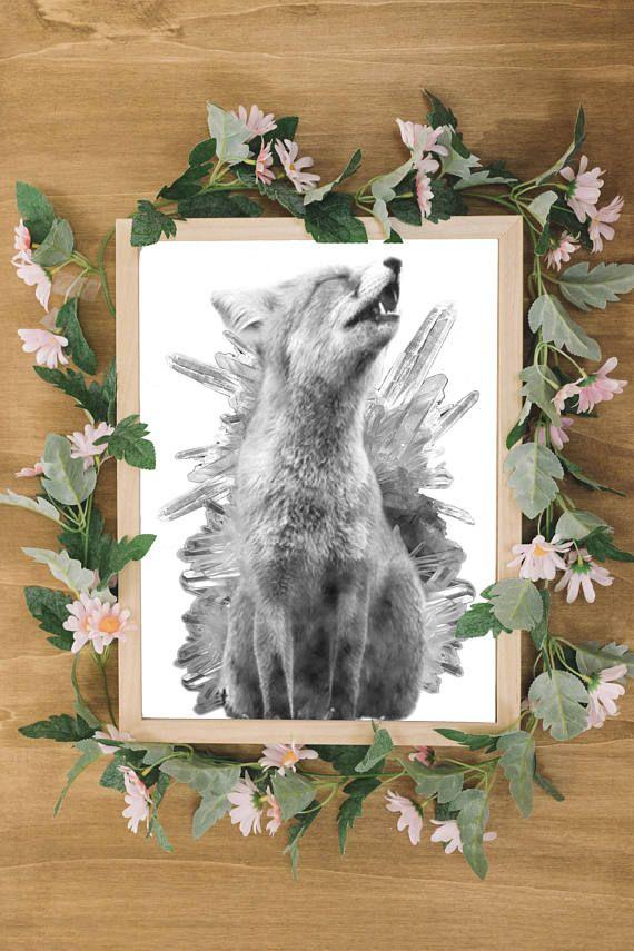 Digital Downloadable Art 'Crystal Fox' Mystical