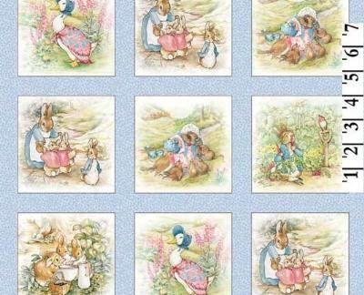 Beatrix Potter Fabric Benjamin Bunny Quilt Blocks 4 Quot Blue