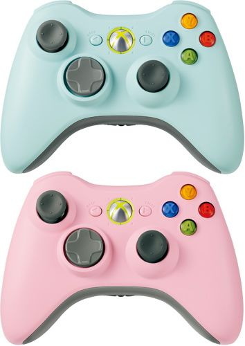 Pink and blue Xbox 360 wireless controllers. So cute!