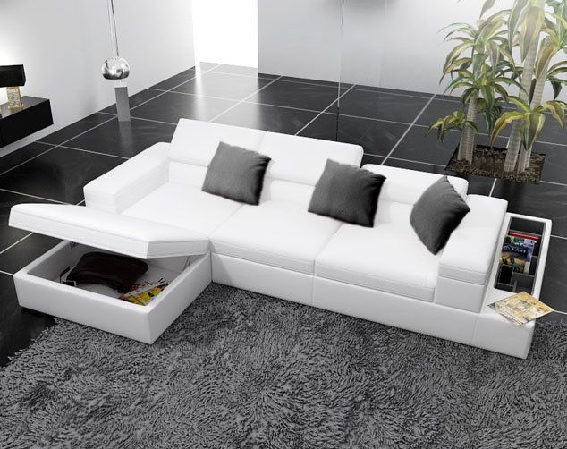 Atemberaubende Leder Sectional Sofa Bett Modernes Weisses Leder