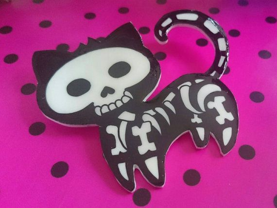 Skeleton cat necklace ~ Day of the dead cat ~ Gift for her ~ Unusal Birthday gift ~ Gifts for teens ~ Cool Gift Ideas ~ Dia De Los Muertos