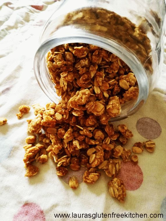 Peanut Butter Granola --- This Gluten Free Peanut Butter Granola is made with just 4 ingredients, in only 10 minutes of prep time. It's crisp and lightly sweetened, with just the right amount of peanut butter flavor.