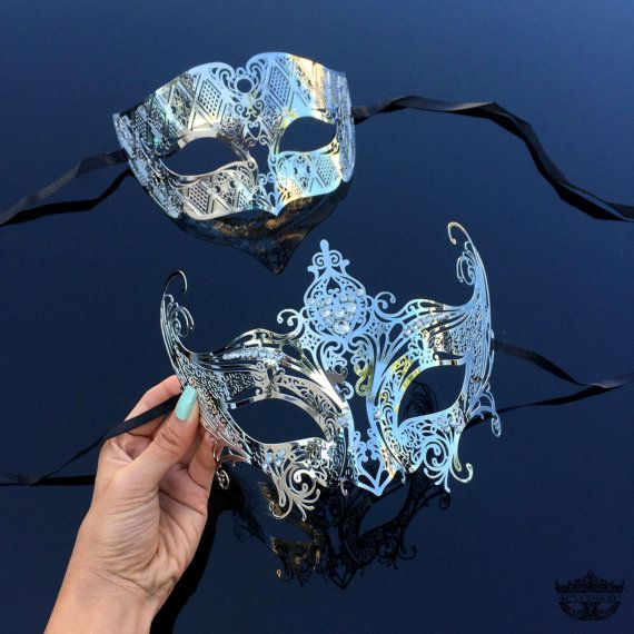Couples Masquerade Mask New Silver Elegant Couples by 4everstore