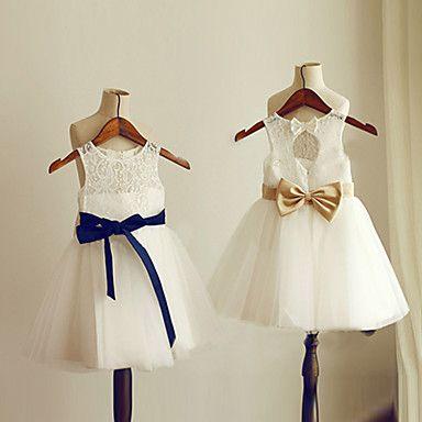 Flower Girl Dress Knee-length Chiffon A-line Jewel Dress  – AUD $ 64.34