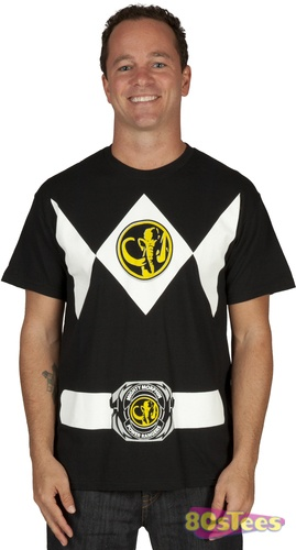 This Mighty Morphin Power Rangers Costume t-shirt is based on the uniform worn by the Black Ranger.  The Mastodon Power Coin is featured both on the chest and belt.