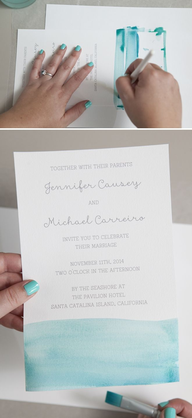(Wording in this one for reception only) How to watercolor your wedding invitations!