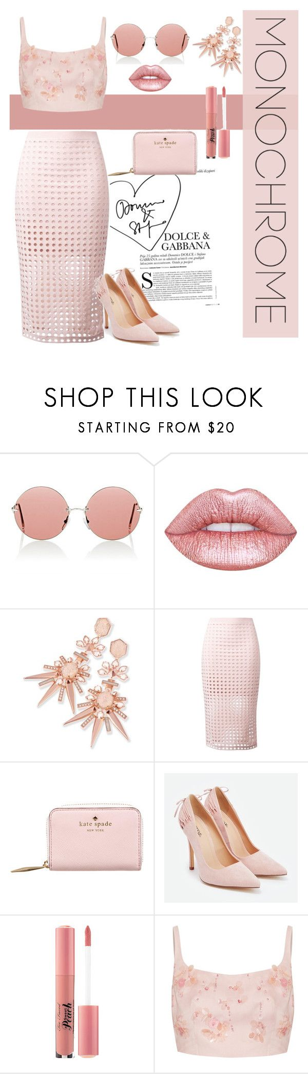 """""""Mean girl 2"""" by sarahtboss ❤ liked on Polyvore featuring Christopher Kane, Lime Crime, Kendra Scott, T By Alexander Wang, Kate Spade, JustFab, Too Faced Cosmetics and Prada"""