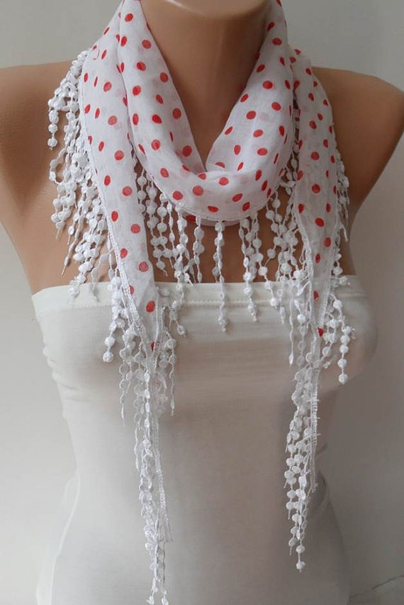 White and Red Polka Dot  Scarf with White Trim Edge by SwedishShop, $12.90
