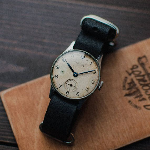 Soviet watch Victory - watches for men - mechanical wristwatch - ussr gents watches Rare white watch Pobeda ZIM 2 - MChZ Year: 57s Watch 100% original. Mechanical movement works perfectly. Collectible model. The NATO strap is made of genuine leather handcraft. Watches serviced