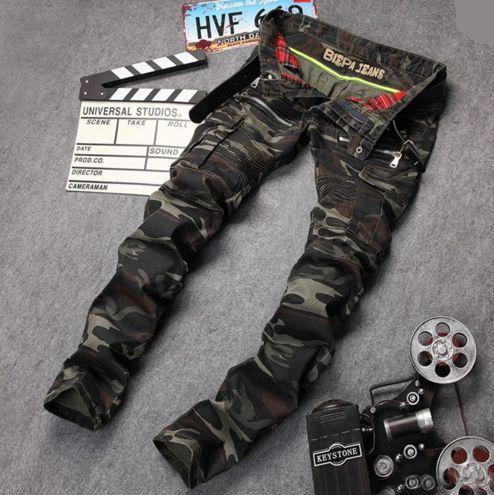 New Arrival High Quality Mens Biker Jeans Famous  Brand Designer Straight Slim