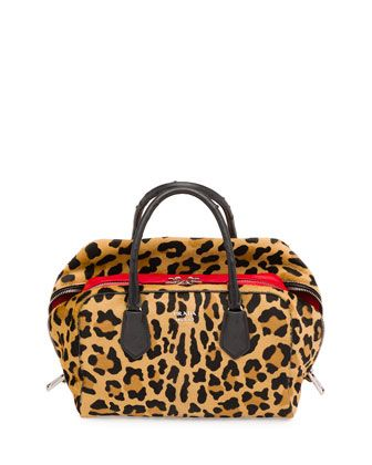 Calf Hair \u0026amp; Ostrich Medium Inside Bag, Leopard/Red/Black (Miele+ ... - prada pouch black/yellow