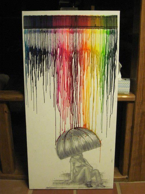 melted crayon art.: Ideas, Melted Crayons Art, Umbrellas, Rainbows, Canvas, Crayons Projects, Art Projects, Crayon Art, Crafts