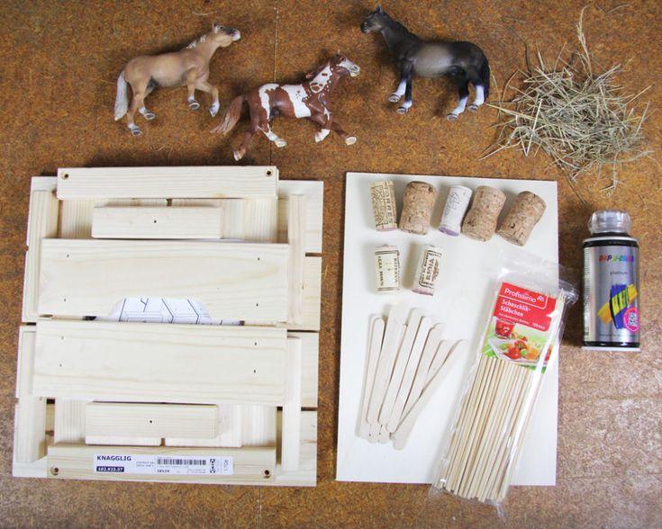 pferdestall selber bauen und zubeh r f r den ponyhof basteln basteln mit kindern pferdestall. Black Bedroom Furniture Sets. Home Design Ideas