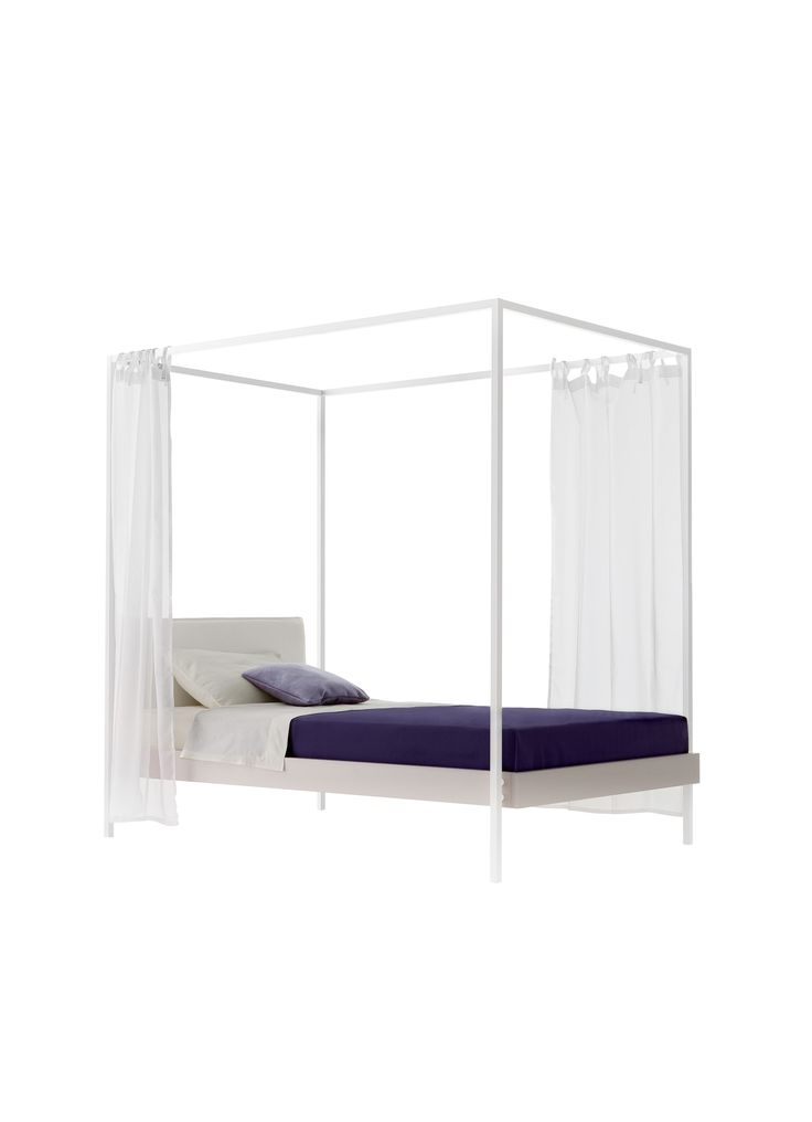 Kap, the romantic bed by Nidi!  Bianco-colored frame, bed surround in ninfea finish and headboard covered with Orib fabric!