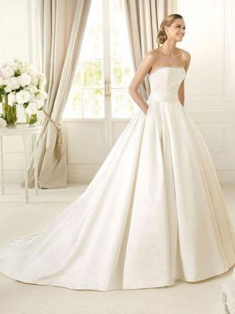 BallGown Strapless Sweep Train Satin Wedding Dress : I love this dress