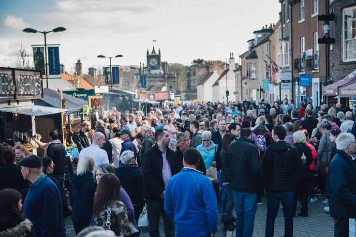 Thousands of people pack the streets of Bishop Auckland Market Place for Bishop Auckland Food Festival 2017.