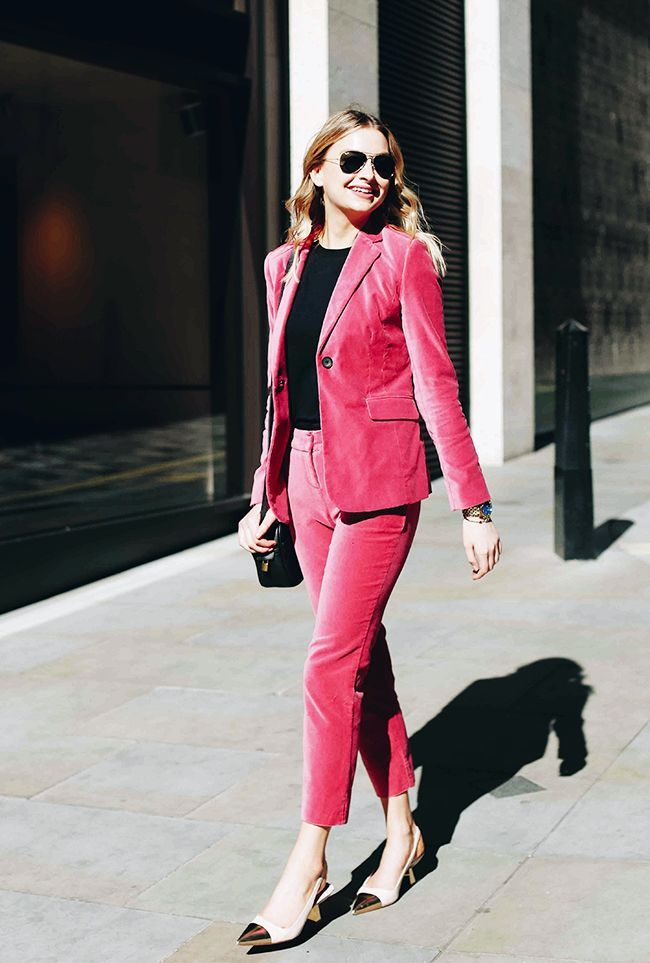 Boden is now a fashion editor favourite, and this pink velvet suit has become a go-to with the Instagram set. Click here to see and shop the suit.