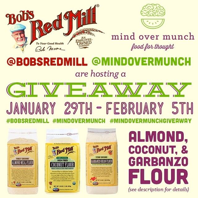 Check out @Mind Over Munch on Instagram for a great Bob's Red Mill giveaway.Mills Giveaways, Darr King, Mindy Darr, Bobs Red Mills