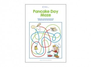 Find the correct colour and follow the correct line to toss the pancake back into the frying pan!
