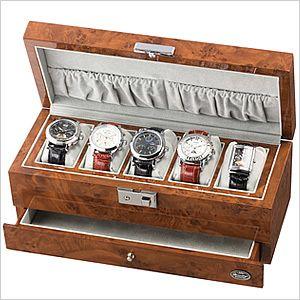 「腕時計の収納方法でお困りの方へ♪」木製5本用濃木目引き出し付きコレクションケース[コレクションボックス]時計収納ケースLU-50015RD[ディスプレイウォッチケース時計ケース腕時計ケース]