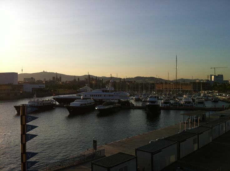 Vistas del puerto olímpico de Barcelona desde el Restaurante la Barceloneta. Julio del 2012
