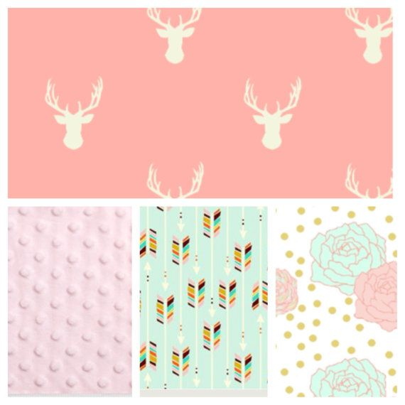 "Marion S Coral And Gold Polka Dot Nursery: Crib Bedding: ""deer"" Friends Arrows Deer Stag Antlers Mint"
