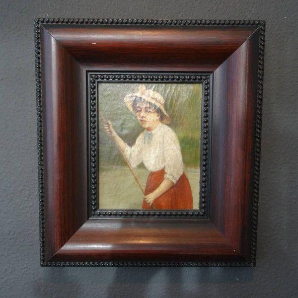 Vrouw met hoed, olieverf op doek in zware houten lijst met parelrand