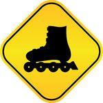 rodillo, patines, vector, señal