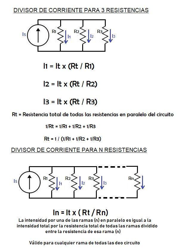 Divisor De Corriente 3 Resistencias Divisor Electricidad Y Electronica Diagrama De Circuito Eléctrico