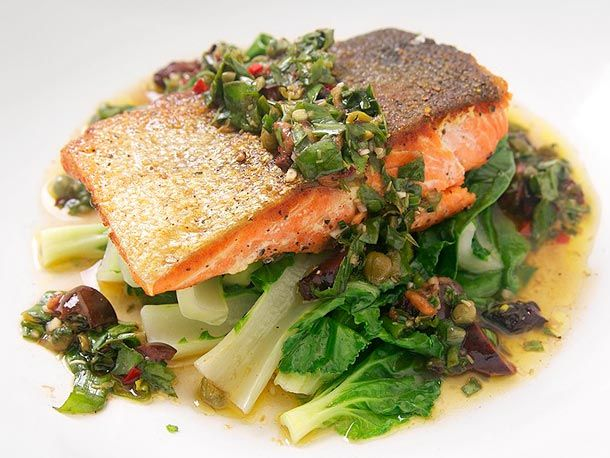 crispy salmon with steamed bok choy and basil-caper relishCrispy Salmon, Bok Choy, Steam Bok, Basil Cap Relish, Salmon Recipe, Serious Eating, Food Recipe, Pan Fries Salmon, Serious Eats