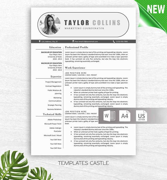 Modern Resume Template with Photo Professional Creative CV