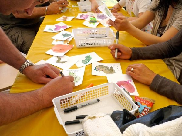 At this Saturday's Draw Down at various spots around the city, folks will pick up pencils, paints, clay, and more, let go of their angst, and have fun.