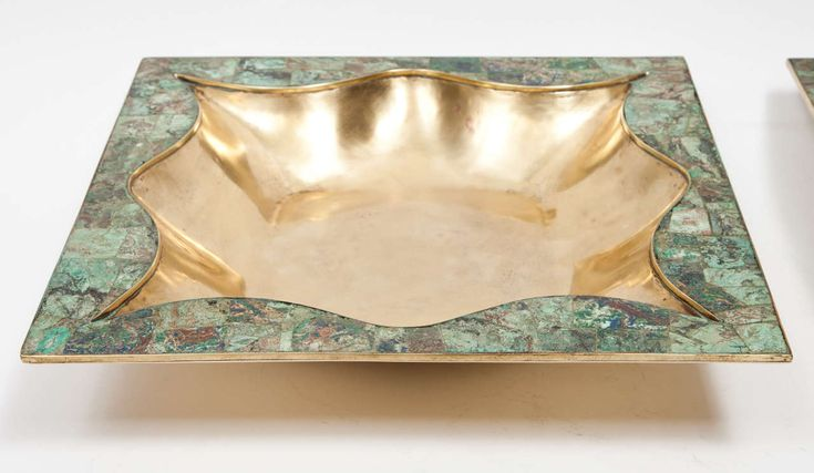Large Bronze and Turquoise Centerpiece Bowls by Los Castillo | From a unique collection of antique and modern bowls at https://www.1stdibs.com/furniture/dining-entertaining/bowls/