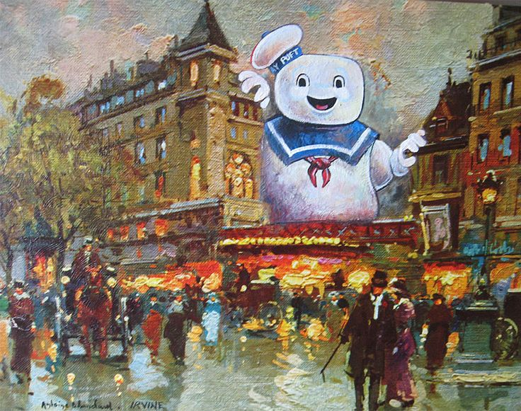 This Artist Paints Pop Culture Characters Into Old Thrift Shop Paintings #Art #Artwork