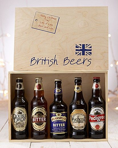 """Personalised British Beer Hamper ~ Different flavours of British beer presented in a wooden box, which can be personalised on the lid. Contains 500ml Burton Bitter, 500ml Marston's Pedigree, 500ml Marston's Double Drop, 500ml Wychcraft and 500ml Brakspear Bitter."""" ~ I would LOVE this as a gift! ~ ♥"""