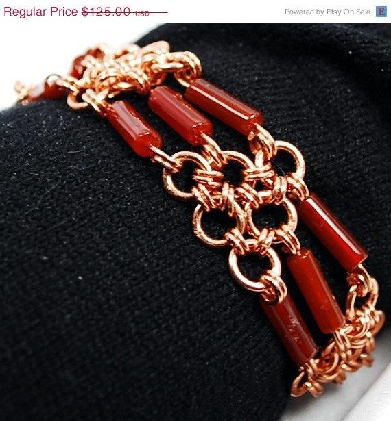 ON SALE Copper Chainmail Bracelet Carnelian. $106.25, via Etsy.