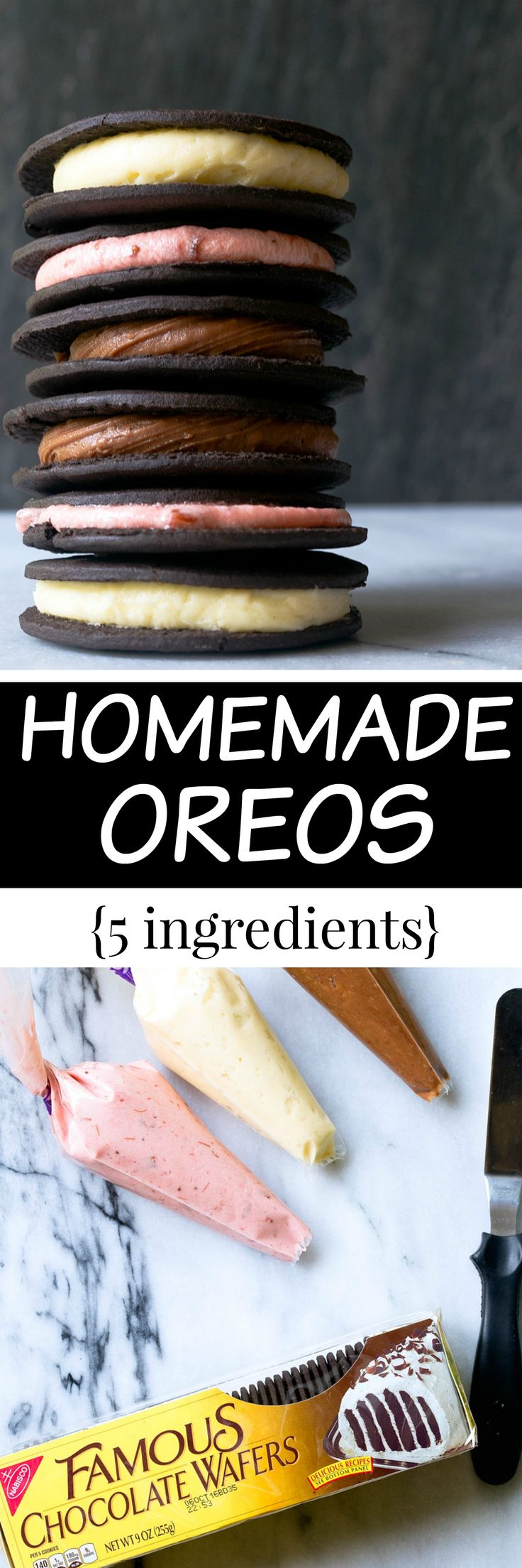 Homemade Oreo Thins with Neapolitan flavor options. Each flavor of homemade Oreos only has 5 ingredients. This recipe is so dangerous to know! @DessertForTwo